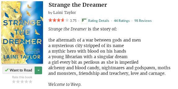 goodreadsblurbstrangethedreamer